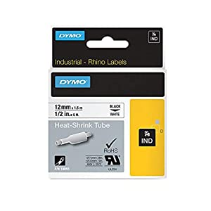 """DYMO Authentic Industrial Heat Shrink Tubes forLabelWriter and Industrial Label Makers, Black on White, 1/2"""", (18055)"""