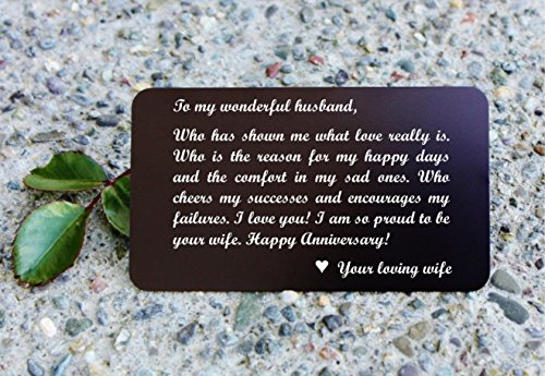 Metal Wallet Card Insert, Mini Love Note Anniversary Gift for Him - Engraved Aluminum Wallet Love Note Insert - Anniversary Gifts for Men - WC04