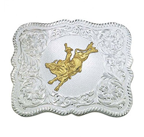 Montana Silversmiths Men's Scalloped Silver Bull Rider Western Belt Buckle Multi One Size