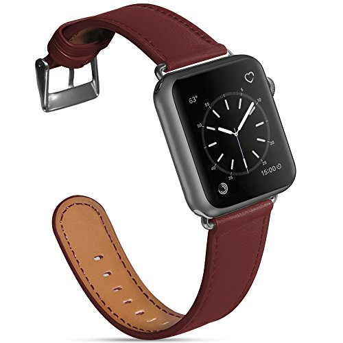 Compatible Apple Watch Band 38mm 40mm, MARGE PLUS Genuine Leather Watch Strap Replacement Band with Stainless Metal Buckle Compatible Apple Watch Series 4 Series 3, 2, 1 Sport and Edition, Bordeaux