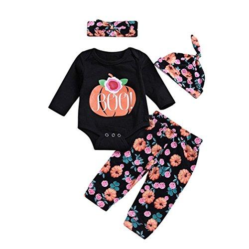 LNGRY Baby Girls Outfits,Toddler Newborn Kid 4Pcs Pumpkin Romper+Floral Pants Cap Halloween Costume Set (12-18 Months, Black) -