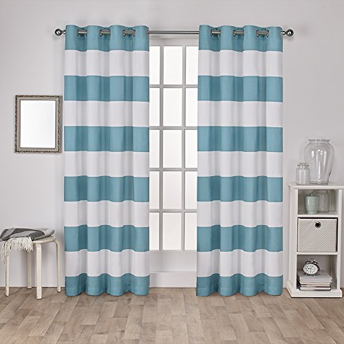 Exclusive Home Surfside Cabana Stripe Cotton Window Curtain Panel Pair with Grommet Top 54x96 Teal 2 Piece