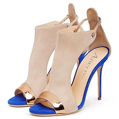 Open Shoes Toe High Platform Womens Buckle Sandals Pump AIWEIYi Heel Blue Strap qp4UpI