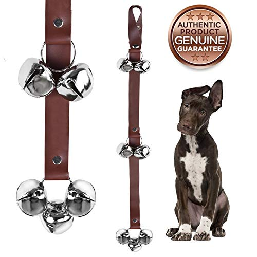 QUXIANG Dog Doorbells Premium Leather Dog Doorbells Premium Quality Training Potty Great Dog Bells Adjustable - Premium Quality - 7 Extra Large Loud 1.4 Mighty Paw Leather DoorBells (Brown) ()