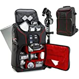 Digital SLR Camera Backpack with 15.6 Laptop Compartment (Red) by USA Gear features Padded Custom Dividers , Tripod Holder , Rain Cover and Storage for DSLR Cameras by Nikon , Canon , Sony & More