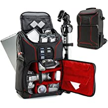 "Digital SLR Camera Backpack with 15.6"" Laptop Compartment (Red) by USA Gear features Padded Custom Dividers , Tripod Holder , Rain Cover and Storage for DSLR Cameras by Nikon , Canon , Sony & More"