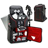 Digital SLR Camera Backpack (Red) w/ Padded Custom Dividers , Tripod Holder , Laptop Compartment , Rain Cover and Accessory Storage by USA Gear for for Nikon , Canon , Sony , Pentax and Many More