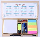 Mega Stationers COMBO SCHOOL SUPPLIES BUNDLE PACK! Includes Pen, Notes, Flags, Stapler, Sharpener, Eraser, Mini Highlighter, Clips, and Calendar- Packaged In A Box Neat & Compact