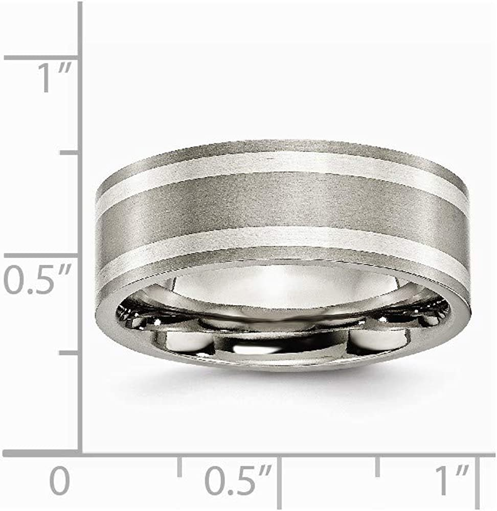 Box Titanium Flat 8mm Sterling Silver Inlay Brushed Band