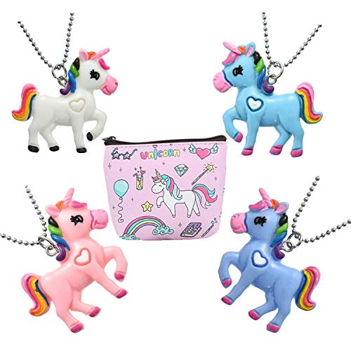 Fsmiling 4-Pack Unique Best Friend Unicorn Necklace for Girls Party Favors with Coin Purse ()