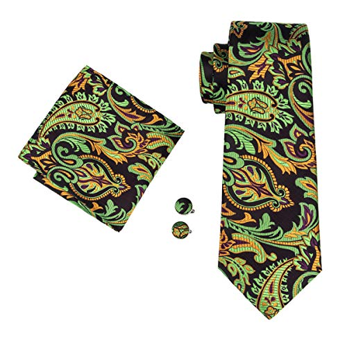 Hi-Tie Mens Green Floral Novelty Tie Necktie with Cufflinks and Pocket Square Tie Set (Green Yellow)