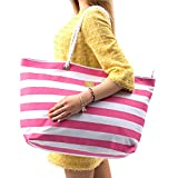 Large Canvas Beach Bag - Perfect Tote Bag For Holidays (Pink)