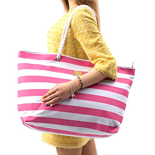 Large Canvas Beach Bag - Perfect Tote Bag For Holidays (Pink) -