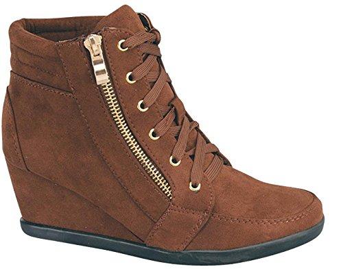 Cambridge Utvalda Womens Snörning Dragkedja Kilklack Mode Sneaker Brun
