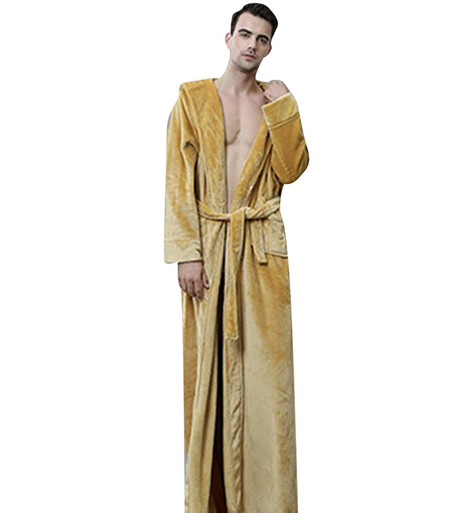 Beykie Mens Hooded Long Robe Winter Warm Flannel Bathrobes Pajamas