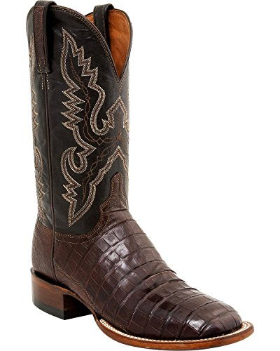 ade Caiman Tail Roper Boot Square Toe Barrel BRN 11.5 EE US (Caiman Tail)