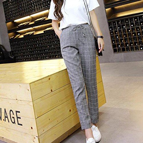 Leggings Pantalons Taille lastique Longs Carreaux Taille Mode Femme Gris Casual Pantalon Loose Harem Moyenne Grande Confortable Taille Pantalons Fit EOd7xBwqtx