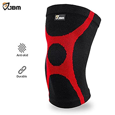 JBM Adult GYM Knee Braces Support Compression Sleeve Patella Wrap Band Knee Stabilizer Safe Pain Relief for Weightlifting Power Lifting Fitness Exercise Badminton Running Climbing Cycling Biking