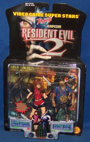 (Claire Redfield with Aim & Shoot Action and Zombie Cop with Exploding Action - Video Game Super Stars Presents Capcom Resident Evil 2 Action Figures)