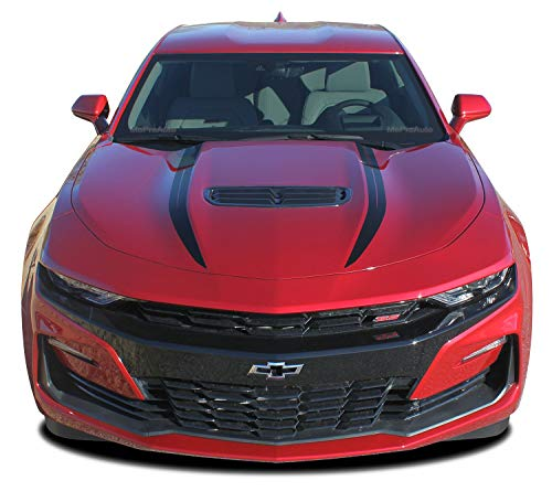 MoProAuto Pro Design Series Widow : 2019 2020 Chevy Camaro Spider Stripes Hood Spear Decals Vinyl Graphics Kit 3M (SS Model ONLY) (Color-3M 02 Gloss Black)