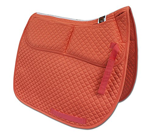 ECP Cotton Correction Dressage Saddle Pad - Memory Foam Pockets (Coral) ()