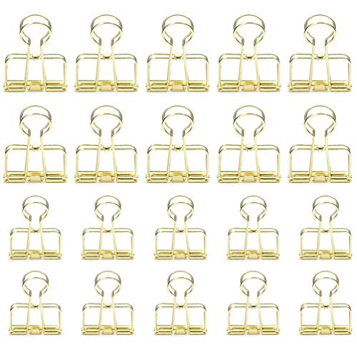 20 Pieces Premium Wire Binder Clips Gold, Assorted Sizes Stainless Steel Office Clips (10 Medium + 10 Small)