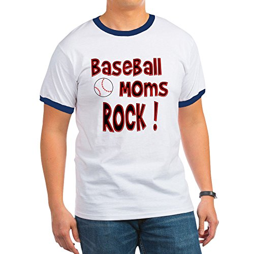 CafePress - Baseball Moms Rock ! - Ringer T-Shirt, 100% Cotton Ringed T-Shirt, Vintage Shirt (Baseball Moms Rock)
