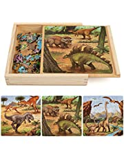 Wooden Jigsaw Dinosaur Puzzles Toys for Kids, 147 Pieces Toddlers Double-Sided Puzzle Preschool Learning Educational Gift for Boys Girls 3-6 Year Olds (3 Pack in a Wood Storage Box)