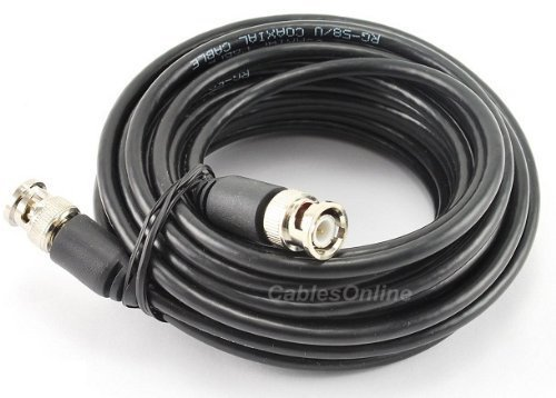 Cablesonline 25 Ft. RG58 Coaxial Cable w/ BNC Male Connectors, Black