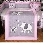 Boutique-Pink-Gray-Elephant-13pcs-Crib-Bedding-Sets
