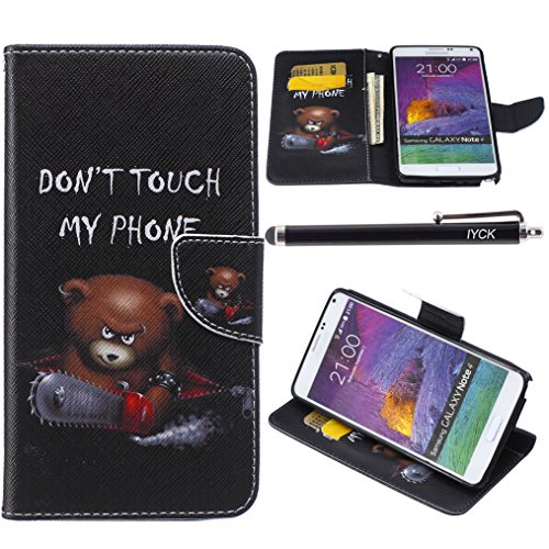 Note 4 Case, Galaxy Note 4 Case, iYCK Premium PU Leather Flip Folio Carrying Magnetic Closure Protective Shell Wallet Case Cover for Samsung Galaxy Note 4 with Kickstand Stand - Electric Saw Bear