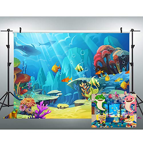VVM 7x5ft Underwater World Backdrop Cartoon Colorful Sea Photography Backdrop for Pictures Party Decoration -