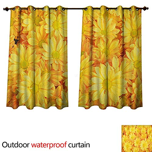 Anshesix Yellow Flower Outdoor Ultraviolet Protective Curtains Lively Daisies Fresh Bouquets with Natural Seasonal Bedding Plant Petals W72 x L63(183cm x 160cm)