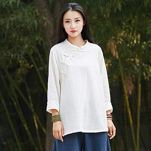 Style Blanc Tops 1 Manches et Vrac OVERMAL Bouton Blanc t T Mode Automne Fille Chic Femmes Chinois Shirt Haut Sexy Longue Dcontracte en Blouse Chemise Vetements Bureau pxAIInUF