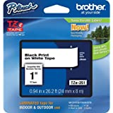 "Brother P-Touch PT-2730 Label Tape (OEM) 1"" Black Print on White"
