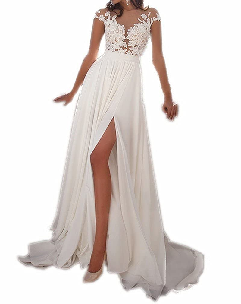Spbridal Sheer Tulle Lace Appliques Long Chiffon Wedding Dress Beach ...