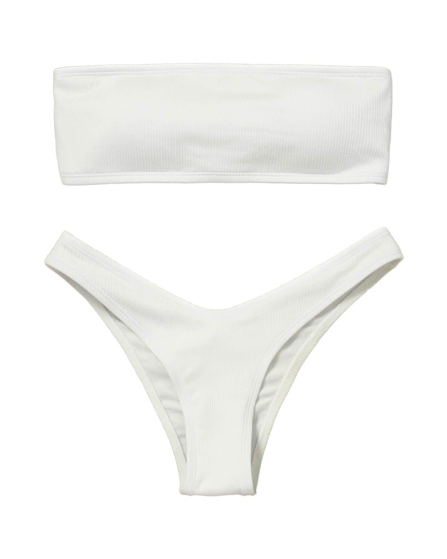 a1c020e8fec Galleon - ZAFUL Women's Sexy Two Piece Strapless Leopard Print Bandeau  Bikini Sets Swimwear Bathing Suits (White 2, M)