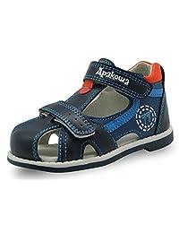 Tufanyu Boys Sport Sandal Fastener Closure Closed Toe Toddler Outdoor Athletic Beach Flat Shoes Non-Slip