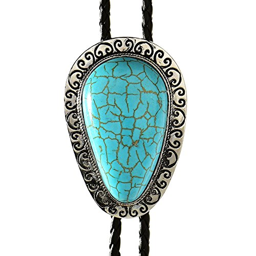 (HUABOLA CALYN Turquoise Bolo tie for Men, Vintage Bola Ties for Hallowmas)