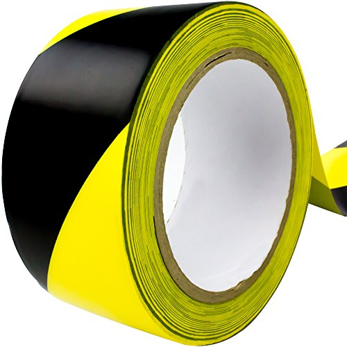 Double-Roll of Ultra-Adhesive, Black & Yellow Hazard Tape for Floor Marking. Mark Floors & Watch Your Step Areas for Safety with High-Visibility, Anti-Scuff, Striped PVC Vinyl by Nova Supply