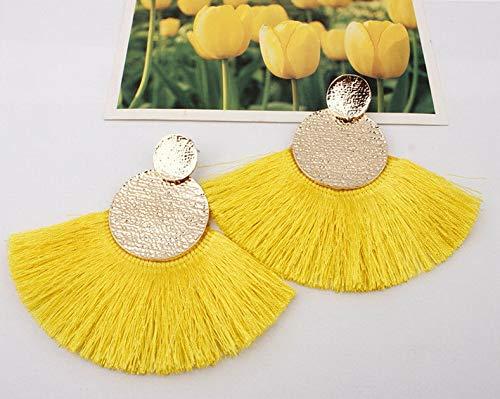 Wausa Boho Hoop Fringe Drop Earrings Circle Fan Shaped Straw Tassel Earrings | Model ERRNGS - 7097 |