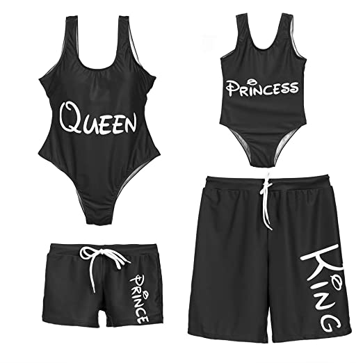 713540cccc9 Family Matching Swimwear Queen King Princess Prince Letter Print Mom  Daughter One Piece Swimsuit Dad Son