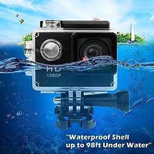 Action Camera 1080P HD Sport DV Underwater 98ft Waterproof Action Video Camera
