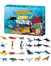 CaCaCook Adventskalender 2021, kerstadventskalender met 24 zeedieren, realistische zeedierfiguur, speelgoed, kerstcountdown voor Kerstmis, voor kinderen, jongens, meisjes, peuters, tieners
