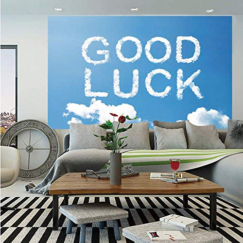SoSung Going Away Party Decorations Removable Wall Mural,Good Luck Message on Sky with White Clouds Wishful Thinking Art Print,Self-Adhesive Large Wallpaper for Home Decor 66x96 inches,Sky Blue White