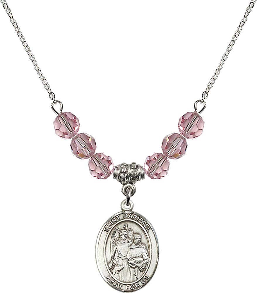 Bonyak Jewelry 18 Inch Rhodium Plated Necklace w// 6mm Light Rose Pink October Birth Month Stone Beads and Saint Raphael The Archangel