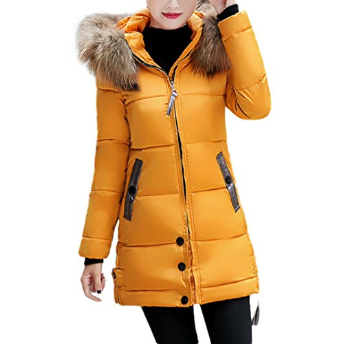 Forthery Women's Puffer Jacket with Plush Lined Fur Trim Hood Down Coats (Tag M= US XS, (Yellow Deco Trim)