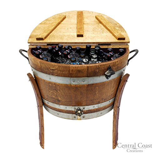 Cooler Barrel Wine (Central Coast Creations Half Barrel Ice Chest - Wine Barrel Handcrafted Wine Barrel Furniture)