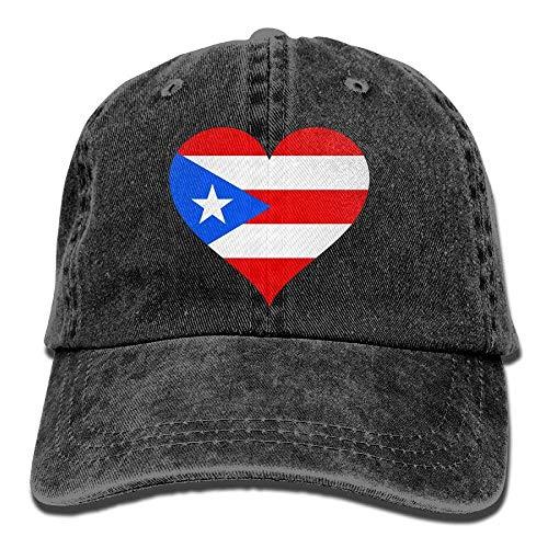 (Flag of Puerto Rico Heart Dad Hat Adjustable Denim Hat Classic Baseball Cap)