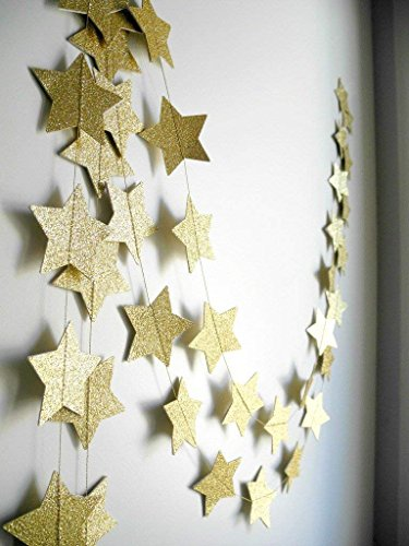 Skoye 2-Pack,Gold Star Garland, Golden Christmas Galaxy Banner, Twinkle Twinkle Little Star Garland Christmas Garland, Christmas Decor, Gold Baby Shower (4 inch in Diameter,13 ()